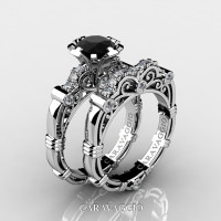 Art Masters Caravaggio 14K White Gold 1.0 Ct Black and White Diamond Engagement Ring Wedding Band Set R623S-14KWGDBD