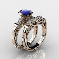 Art Masters Caravaggio 14K Rose Gold 1.0 Ct Blue Sapphire Diamond Engagement Ring Wedding Band Set R623S-14KRGDBS