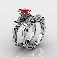 Art Masters Caravaggio 14K White Gold 1.0 Ct Ruby Diamond Engagement Ring Wedding Band Set R623S-14KWGDR