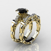 Art Masters Caravaggio 14K Yellow Gold 1.0 Ct Black and White Diamond Engagement Ring Wedding Band Set R623S-14KYGDBD