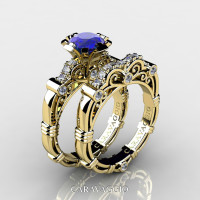 Art Masters Caravaggio 18K Yellow Gold 1.0 Ct Blue Sapphire Diamond Engagement Ring Wedding Band Set R623S-18KYGDBS