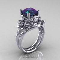 Art Masters Vintage 14K White Gold 3.0 Ct Alexandrite Diamond Wedding Ring Set R167S-14KWGDAL