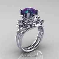 Art Masters Vintage 14K White Gold 3.0 Ct Alexandrite Diamond Wedding Ring Set R167S-14KWGDAL
