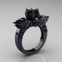 Art Masters Classic Winged Skull 14K Black Gold 1.0 Ct Black Diamond Blue Sapphire Solitaire Engagement Ring R613-14KBGBSBD Perspective