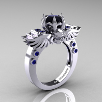Art Masters Classic Winged Skull 14K White Gold 1.0 Ct Black Diamond Blue Sapphire Solitaire Engagement Ring R613-14KWGBSBD Perspective