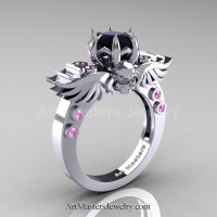 Art Masters Classic Winged Skull 14K White Gold 1.0 Ct Black Diamond Light Pink Sapphire Solitaire Engagement Ring R613-14KWGLPSBD Perspective