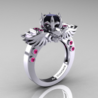Art Masters Classic Winged Skull 14K White Gold 1.0 Ct Black Diamond Pink Sapphire Solitaire Engagement Ring R613-14KWGPSBD Perspective