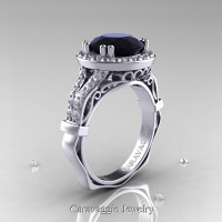 Caravaggio 14K White Gold 3.0 Ct Black and White Diamond Engagement Ring Wedding Ring R620-14KWGDBD