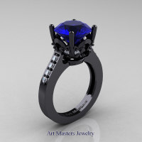Exclusive Classic 14K Black Gold 3.0 Carat Blue Sapphire Diamond Solitaire Wedding Ring R301-14KBGDBS