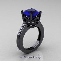 Exclusive Classic 14K Black Gold 3.0 Carat Blue Sapphire Diamond Solitaire Wedding Ring R301-14KBGDBS