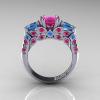 Classic-14K-White-Gold-Three-Stone-Princess-Pink-Sapphire-Blue-Topaz-Diamond-Ring-R500-WGBTPS-F