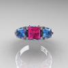 Classic-14K-White-Gold-Three-Stone-Princess-Pink-Sapphire-Blue-Topaz-Diamond-Ring-R500-WGBTPS-T