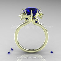 Art Masters 18K Green Gold 3.0 Ct Blue Sapphire Dragon Engagement Ring R601-18KGGBS