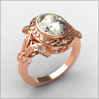 Modern Victorian 18K Pink Gold .58 ctw Diamond 2.0CT Oval Zirconia Bridal Ring R58-18KPGDCZ-1