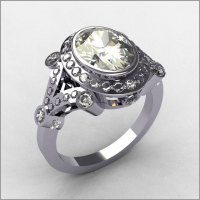 Modern Victorian 18K White Gold 2.0 CT Oval Zirconia Bridal Ring R58-18KWGCZ-4