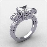 Retro-Modern 14K White Gold 0.47 ctw Diamond Square Princess Cut Zirconia Bridal Ring R65-14KWGDCZ-1