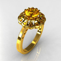 Modern 22K Yellow Gold 1.0 ct Round and ct 0.24 CTW Yellow Sapphire Flower Ring JK17-22YGYS-1