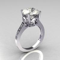 Classic 14K White Gold 3.5 Carat White Sapphire CZ Diamond Solitaire Wedding Ring R301-14WGDCZ-1