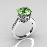 French Bridal 950 Platinum 3.5 Carat Green Topaz Pave Diamond Solitaire Wedding Ring R301-PLATDGT-1