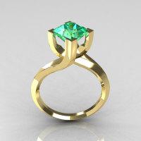 Modern 10K Yellow Gold 1.25 Carat Princess Cut Aquamarine Designer Ring R74-10YGAQ-1