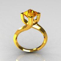 Modern 22K Yellow Gold 1.25 Carat Princess Cut Yellow Sapphire Stone Designer Ring R74-22RGYS-1