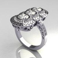 Modern Edwardian 950 Platinum 1.5 CTW Round Three Stone CZ Engagement Ring R75-PLATCZ-1
