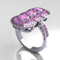 Modern Edwardian 950 Platinum 1.5 CTW Round Three Stone Lilac Amethyst Engagement Ring R75-PLATLA-1