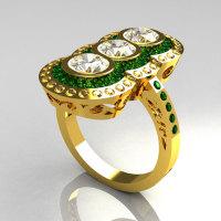 Modern Edwardian 22K Yellow Gold 1.5 CTW Round Three Stone Emerald CZ Engagement Ring R75-22YGCZEM-1
