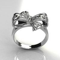 Classic Style 14 Karat White Gold Pave Diamond Ribbon Ring R92-14KWGD-1