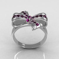 Classic Style 10 Karat White Gold Round Pave Amethyst Stone Ribbon Ring R92-10KWGAM-1
