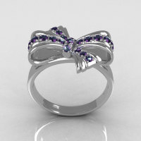Classic Style 10 Karat White Gold Round Pave Alexandrite Stone Ribbon Ring R92-10KWGAL-1
