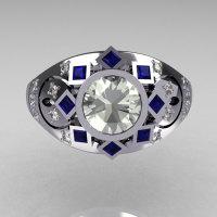 Modern Edwardian 950 Platinum 1.0 Carat Round Diamond Blue Sapphire Ring Y258-PLATDBS-2