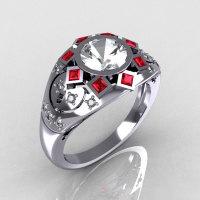 Modern Edwardian 950 Platinum 1.0 Carat Round Zirconia Pave Diamond Garnet Ring Y258-PLATCZDRR-1
