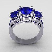 Modern 950 Platinum Gold Three Stone 2.25 Carat Total Round Blue Sapphire Bridal Ring R94-PLATBS-1