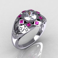Modern Edwardian 950 Platinum 1.0 Carat Round Diamond Pink Sapphire Ring Y258-PLATDPS-1