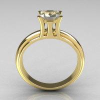 Modern Italian 10K Yellow Gold 1.0 Carat Princess CZ Solitaire Ring R98-10KYGCZ-1