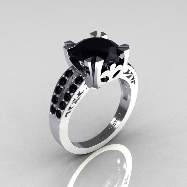 Modern Vintage 14k White Gold 3 0 Carat Black Diamond Solitaire Ring R