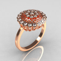 Classic 10K Pink Gold 0.50 CTW Diamond Cluster Bridal Ring R107-10KPGD-1