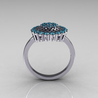 Classic 14K White Gold Aquamarine Cluster Bridal Ring R107-14KWGAQ-1