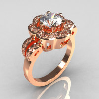 Classic 10K Pink Gold 1.0 Carat CZ Diamond 2011 Trend Engagement Ring R108-10KPGDCZ-1