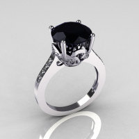 Classic 18K White Gold 3.5 Carat Black Diamond Pave White Diamond Solitaire Wedding Ring R301-18WGDBL-1