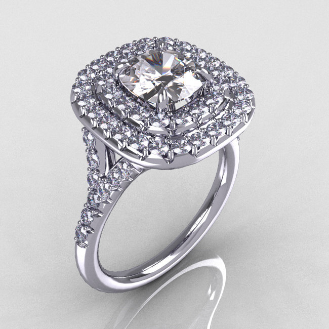 aaf5d2d7c Soleste Style 950 Platinum 1.25 Carat Cushion CZ Bead-Set Diamond  Engagement Ring R116-