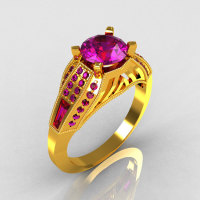Aztec-Edwardian 22K Yellow Gold 1.0 CT Round and Baguette Amethyst Engagement Ring MR001-22YGAM-1
