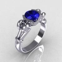 Modern Antique 10K White Gold 1.0 Carat Round Blue Sapphire Designer Solitaire Ring R122-10WGBS-1