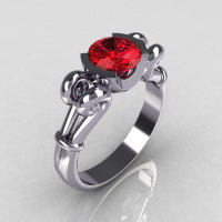Modern Antique 14K White Gold 1.0 Carat Round Red Ruby Designer Solitaire Ring R122-14WGRR-1