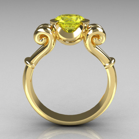 Modern Antique 10K Yellow Gold 1.0 Carat Round Yellow Topaz Designer Solitaire Ring R122-10YGYT-1