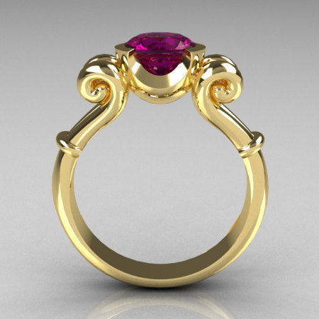 Modern Antique 10K Yellow Gold 1.0 Carat Round Amethyst Designer Solitaire Ring R122-10YGAM-1