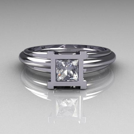 Modern Italian 10K White Gold 0.50 Carat Princess CZ Solitaire Ring R98-3-10KWGCZ-1