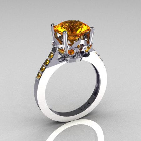 Classic Bridal 14K White Gold 3.0 Carat Citrine Solitaire Wedding Ring R301-14WGCI-1