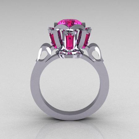 Modern Edwardian 14K White Gold 1.0 Carat Pink Sapphire Baguette Cluster Wedding Ring R305-14WGPS-1